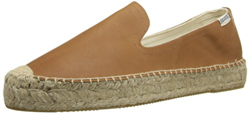 Soludos Women's Leather Platform Smoking Slipper, Tan, 8 B US
