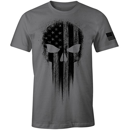 (USA Military American Flag Black Skull Patriotic Men's T Shirt (Charcoal, L))