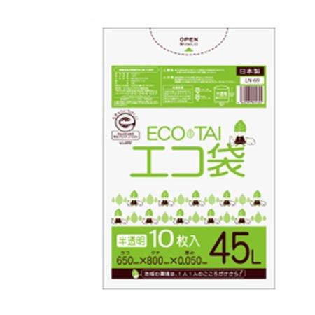 サンキョウプラテック エコ袋 45L 0.050厚 半透明 10枚入×40冊 LN-69 B0784QRF8P 厚さ0.045mm|半透明 半透明 厚さ0.045mm