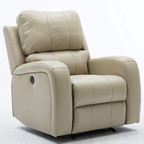 Bonzy Home Power Recliner Chair Air Leather - Overstuffed Electric Faux Leather Recliner with USB Charge Port - Home Theater Seating - Bedroom & Living Room Chair Recliner Sofa (Buff) (Recliner Chairs Overstuffed)