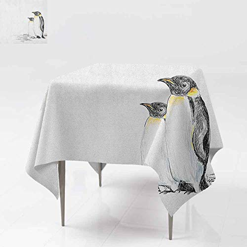 AndyTours Waterproof Table Cover,Sea Animals,Hand Drawn Art Penguins Aquatic Flightless Birds Polar South Pole Wildlife,Party Decorations Table Cover Cloth,70x70 Inch Black White