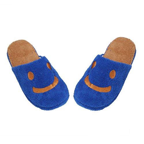 Elevin (tm) Mooie Glimlach Vrouwen Zachte Warme Indoor Pluche Katoenen Thuis Vloer Slippers Schoenen Blauw