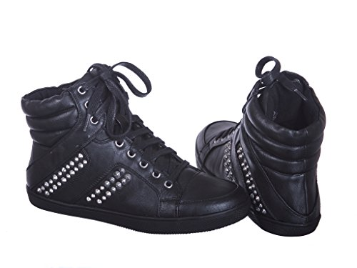 New! Metallic Glitter Lace Up High Top Ankle Fashion Sneakers C_blackpu hPZ7d