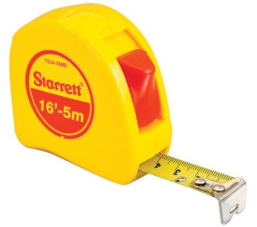 (Starrett KTS34-16ME-N ABS Plastic Case Yellow Measuring Pocket Tape, English/Metric Graduation Style, 16' (5m) Length, 0.75