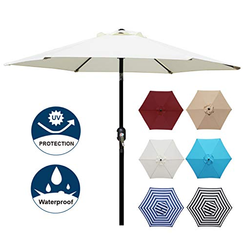 Blissun 7.5 ft Patio Umbrella, Yard Umbrella with Push Button Tilt and Crank (Beige)
