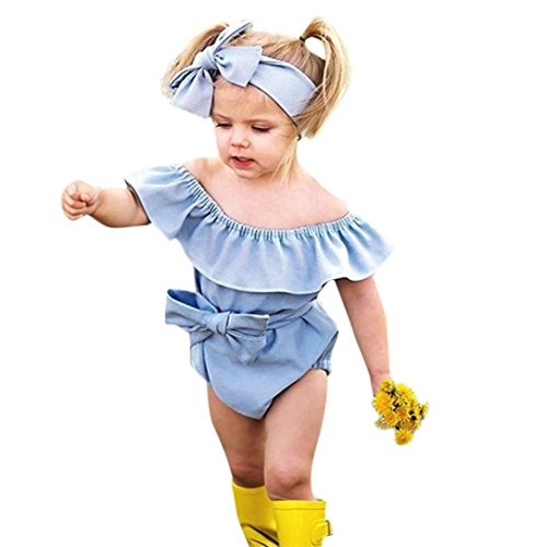 baskuwish Toddler Outfits 2Pcs Cute Kids Baby Denim Girls Outfits Clothes Romper+Headband Bow Jumpsuit Set (Blue, 100)