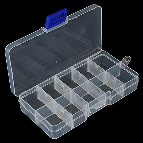 Fishing Lure Hook Bait Storage Adjustable 10 Compartments Plastic Fishing Tackle Box for Fishing Accessories ()