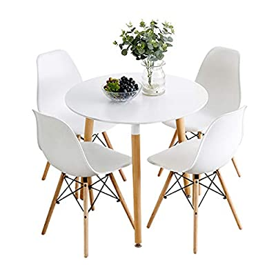 Nicemoods Kitchen Dining Table White Round Coffee Table, Modern Leisure Wooden Tea Table,Home Easy-Assembly Office Conference Pedestal Desk 31.5x31.5 inches & Set of 4 Dining Chairs,White+White - Ergonomic design: The seat of the chair is contoured to fit your hips and support your body. The perfect combination of the high back and the spine allows you to sit comfortably every time.The height of the table is perfect for us. Simple, minimalist design: This sleek minimalist design combines modernity with medieval style. The beauty of the white top and the finely solid wood legs, makes this kitchen table set a customer favorite and best seller Kitchen table set high quality: Mid Century modern round dining table Set is aimed at durability. the dining table is constructed of solid wood legs and has a gorgeous, white MDF Top that is easy to clean and scratch resistant,the dining chair is also easy to clean - kitchen-dining-room-furniture, kitchen-dining-room, dining-sets - 41xEdOsUrfL. SS400  -