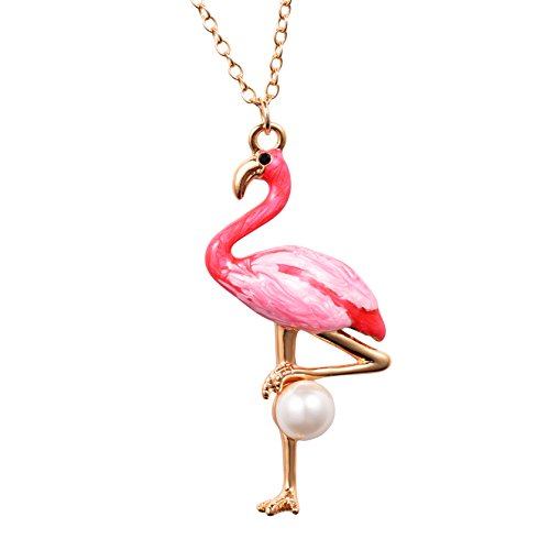 Kingsin Flamingo Bird Pink Pendant Necklace Pearl Gold Tone Christmas Gifts For Girls