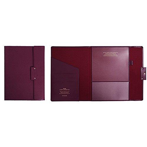 "Professional Portfolio Briefcase File Folder File Organizer with Flap-Top Snap Closure, Premium Quality File Envelope Folder, A4 Documents Holder, Padfolio 12.79""X9.25"" (Wine)"