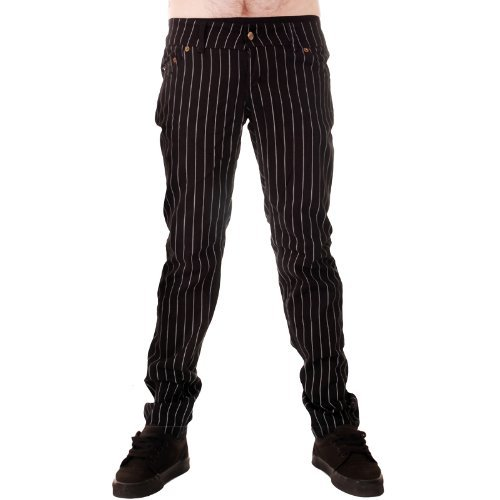 Jist Men's Pinstripe Drainpipe Jeans 36 White & Black (Pinstriped Denim Pants)
