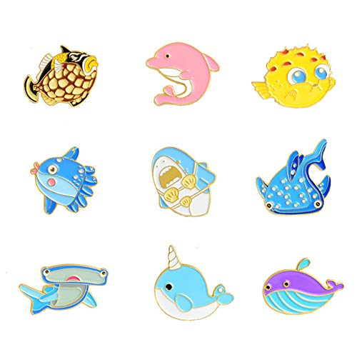 Ocean Animal Lapel Brooch Pin Sets Enamel Brooch Pin Set Cute Brooches Pin Funny Animal Brooches Pin Sets Badges for Clothing Bags Backpacks Jackets Hat DIY ()