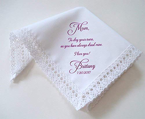 Personalized Mother of the bride cotton lace wedding handkerchief with custom printed message -