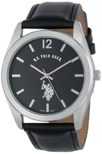U.S. Polo Assn. Classic Men's USC50005 Silver-Tone Watch with Black Genuine Leather Band