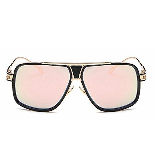 Box Vintage Big Femme Soleil Pink Mode en Miroir 蛤蟆 Silver Lunettes Rond LBY Lunettes de Dame Métal Visage Couleur Couple De Soleil 5qXYnFw