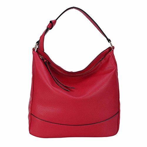 Women Hobo Handbags Shoulder Bag PU Leather Soft Fashion Designer Large Capacity Tote for Ladies (Red)