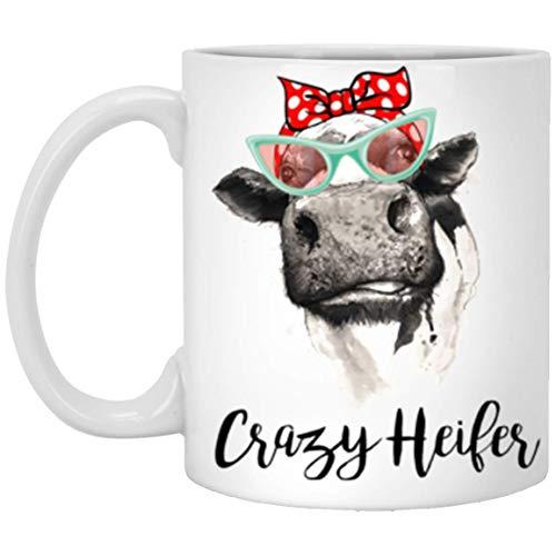 (Farmer Coffee Mug, 11 oz Coffee Mug, Women Gift Mug - Crazy Heifer Bandana Cow Mug - Best Gifts For Farmer Western Red Hairbow Mug)