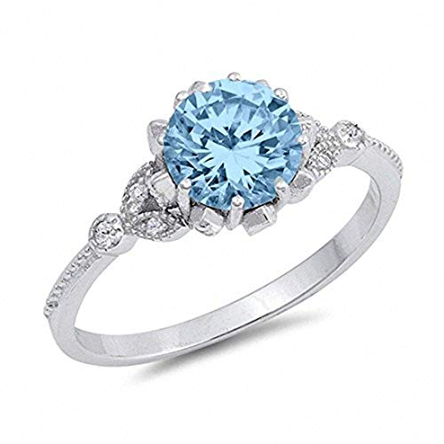 Blue Apple Co. Art Deco Design Fashion Ring Simulated Round Aquamarine 925 Sterling Silver,Size-6
