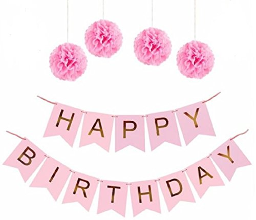 Happy Birthday Party Banner Sign - Gold Foil Letters for Decoration  Paper Tissue Pom Poms Included - Celebration Garland & Supplies - Choose Pink or Blue Color with Pompoms (Pink with Gold Letters)