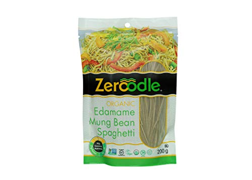 Zeroodle 6-Pack Low Net Carb Gluten Free Vegan Pasta - Organic Mung Bean Edamame Spaghetti Noodles - High Protein