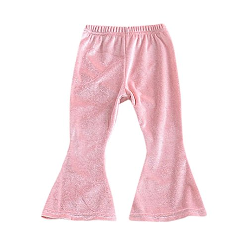 iumei 2 Colors Toddlers Kids Girls Stretchy Solid Velour Slim Bell-bottoms Flare Pants (18 Months, Pink) (Slim Flare Pant)