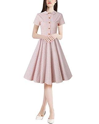 Bohistyle Women's Vintage 1950s Short Sleeve Plaid Midi Rockabilly Swing Party Dress