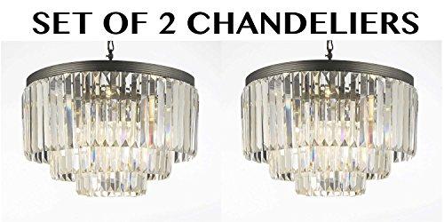 Set of 2 Odeon Crystal Glass Fringe 3-tier Chandelier Chandeliers Lighting Great for Dining Room Lighting!