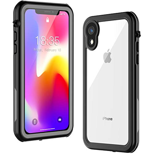 iPhone XR Waterproof Case GOCOOL Full Body with Built-in Screen Protector, Clear Sound, Shockproof Snowproof Dirtproof Cover Case 6.1 inch (Grey/Transparent)