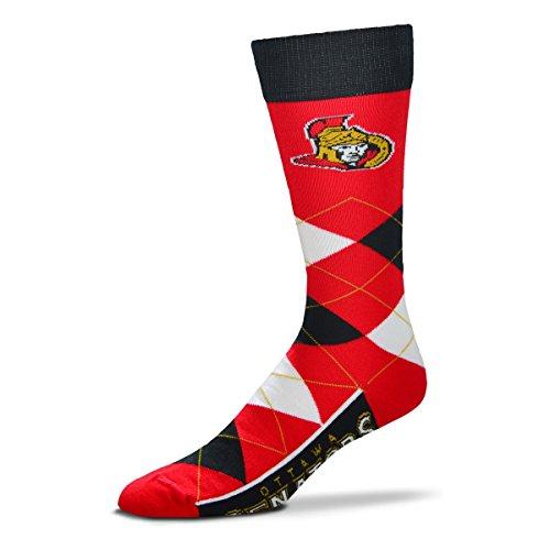 - For Bare Feet NHL Argyle Lineup Unisex Crew Dress Socks-One Size Fits Most-Ottawa Senators