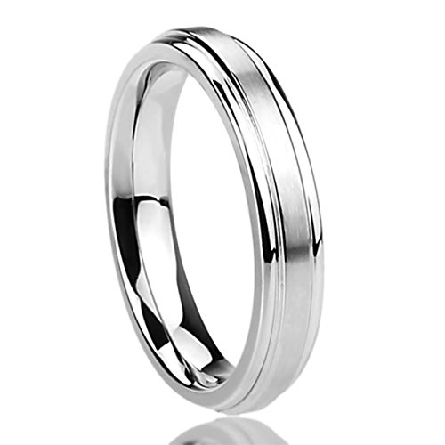 4MM Stainless Steel Womens Rings Brushed Center Classy Comfort Fit Wedding Bands SZ: 7
