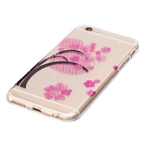iPhone 6 / 6S Plus Hülle , Leiai Modisch Kirschbaum TPU Transparent Weich Tasche Schutzhülle Silikon Handyhülle Stoßdämpfende Schale Fall Case Shell für Apple iPhone 6 / 6S Plus