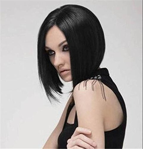 [Cool2day Western Women's Straight Black Short BOB Cosplay Wig With Free Wig Cap 0411] (Short Black Wig)