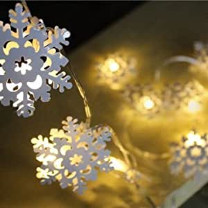 DatC - Decorative Lights - KCASA 2M 20 LED Metal Snowflake String Lights LED Fairy Lights for Festival Christmas Halloween Party Wedding Decoration Battery Powered - 1PCs