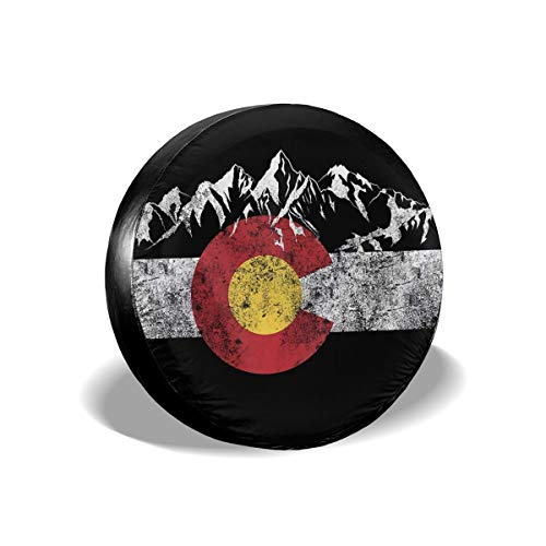 MMHOME Spare Tire Cover 14 Inch Vintage Mountain Colorado Flag Wheel Protectors Weatherproof Polyester Tire Case for All Cars Jeep CRV SUV Camper