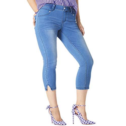 HUE Women's Ultra Soft Denim Jean Capri Leggings, Slit Hem/Classic, Small ()