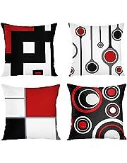 Tirar capa de almohada Conjunto de 4 estampados geométricos Caja de cojín de lino Sofá de cama Funda de almohada de moda para sofá Sofá Decoración para el hogar (impresión de dos lados) 45x45cm