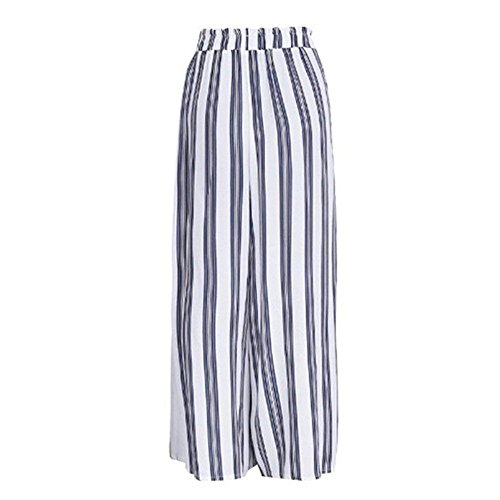 Larghi Eleganti Pantaloni Classiche Pantaloni Stripe Larghi Estivi Inclusa High Libero Waist Pantaloni Capri Casual Tempo Donna Spacco Bianca Donne Pantalone Cintura Pantalone Moda Unique XAxqzx