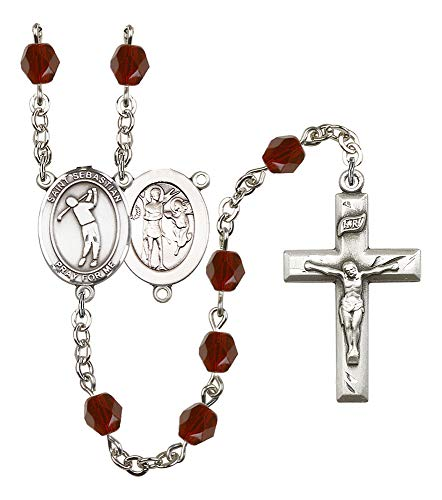 Silver Plate Rosary features 6mm Garnet Fire Polished beads. The Crucifix measures 1 3/8 x 3/4. The centerpiece features a St. Sebastian/Golf medal. Patron Saint ()