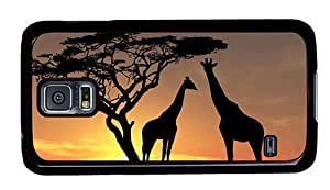 Hipster thin Samsung Galaxy S5 Case Giraffes in Sunset PC Black for Samsung S5