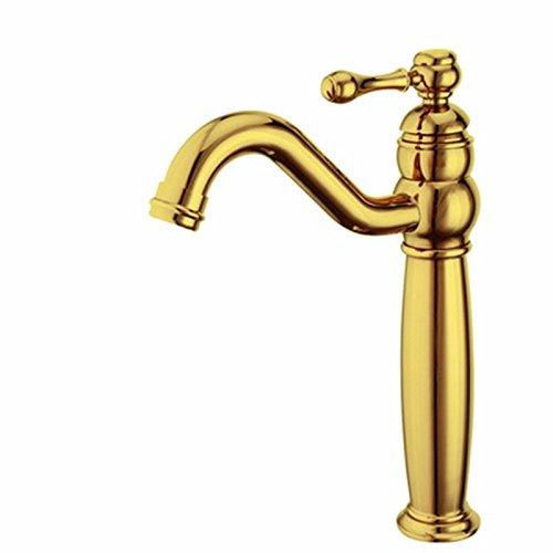 LSRHT Waschtischarmatur Wasserhahn Armatur Badezimmer Waschbecken Mischbatterie Retro Kupfer Waschen Gesicht Drehen einzelne Bohrung tb-05