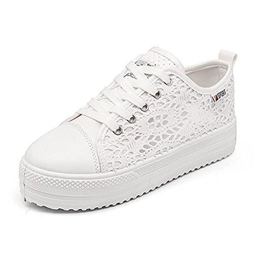 Rainlin Women's Fashion Canvas Lace Hollow Breathable Platform Flats Walking Shoes White US 9