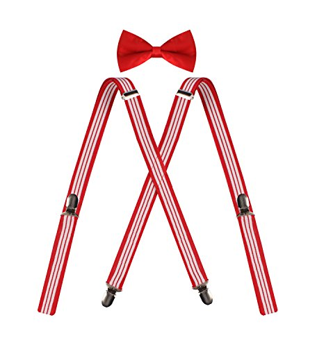 ORSKY Adjustable Men X Back Suspenders and Bow Tie Set for Tuxedo Wedding Red White Stripe (Bow Stripe)