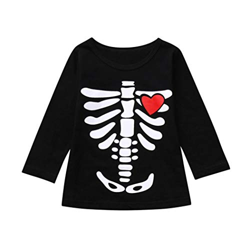 Clearance Sale Toddler Clothes - vermers Infants Fashion Skeleton Print Tops Halloween Costume Outfits Set(4T, Red) -