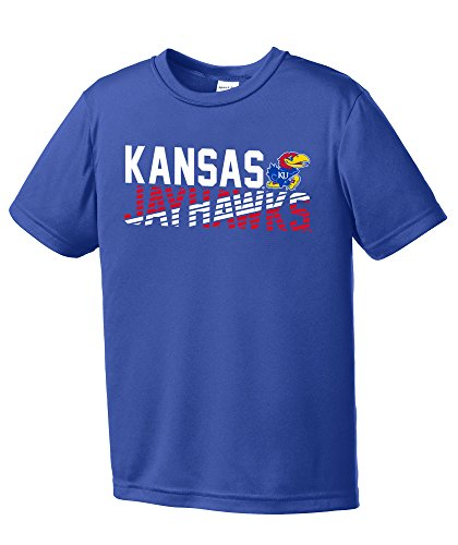 (NCAA Kansas Jayhawks Youth Boys Diagonal Short sleeve Polyester Competitor T-Shirt, Youth Small,Royal)
