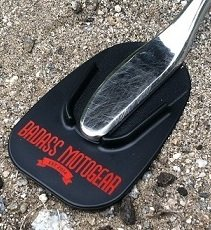Badass Moto Gear Motorcycle Kickstand Pad - Black - American Made in USA. Rugged, Durable w Color Choices - Kick Stand Coaster / Support Plate Helps Park Your Bike on Hot Pavement, Grass, Soft Ground (Jiffy Stand)
