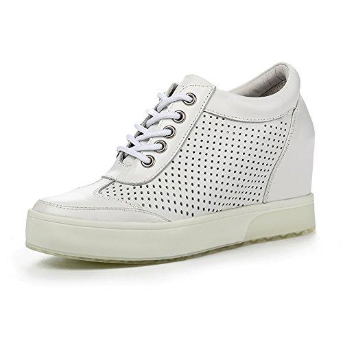 PUMPS Inner-Erhöhung Damenschuhe,Dicken Sohlen Keile,Leder Freizeit Strap Schuhe-B Fußlänge=21.8CM(8.6Inch)