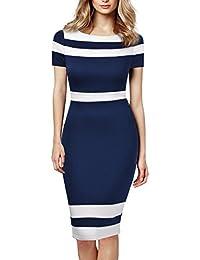 Women's Scoop Neck Optical Illusion Business Bodycon Dress