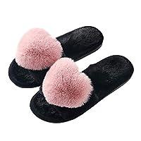 Womens Warm Fleece Slippers Open Toe Soft Cozy Memory Foam Slip On Anti-Skid Sole Dark Pink 6.5 M US