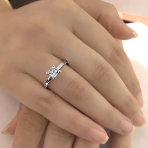 Natural Princess Cut Solitaire Diamond Engagement Ring 14k White Gold or Platinum Art Deco Diamond Ring HANDMADE Free Shipping