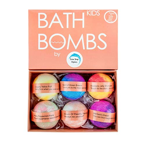 BEST ORGANIC KIDS Bath Bombs Gift Set with Surprise Toys Inside; Organic Bubble Bath Fizzy; 6x5 oz XL Handmade with Essential Oils; Fun Assorted Colored; Kid Safe; For Boys and Girls; Gender Neutral